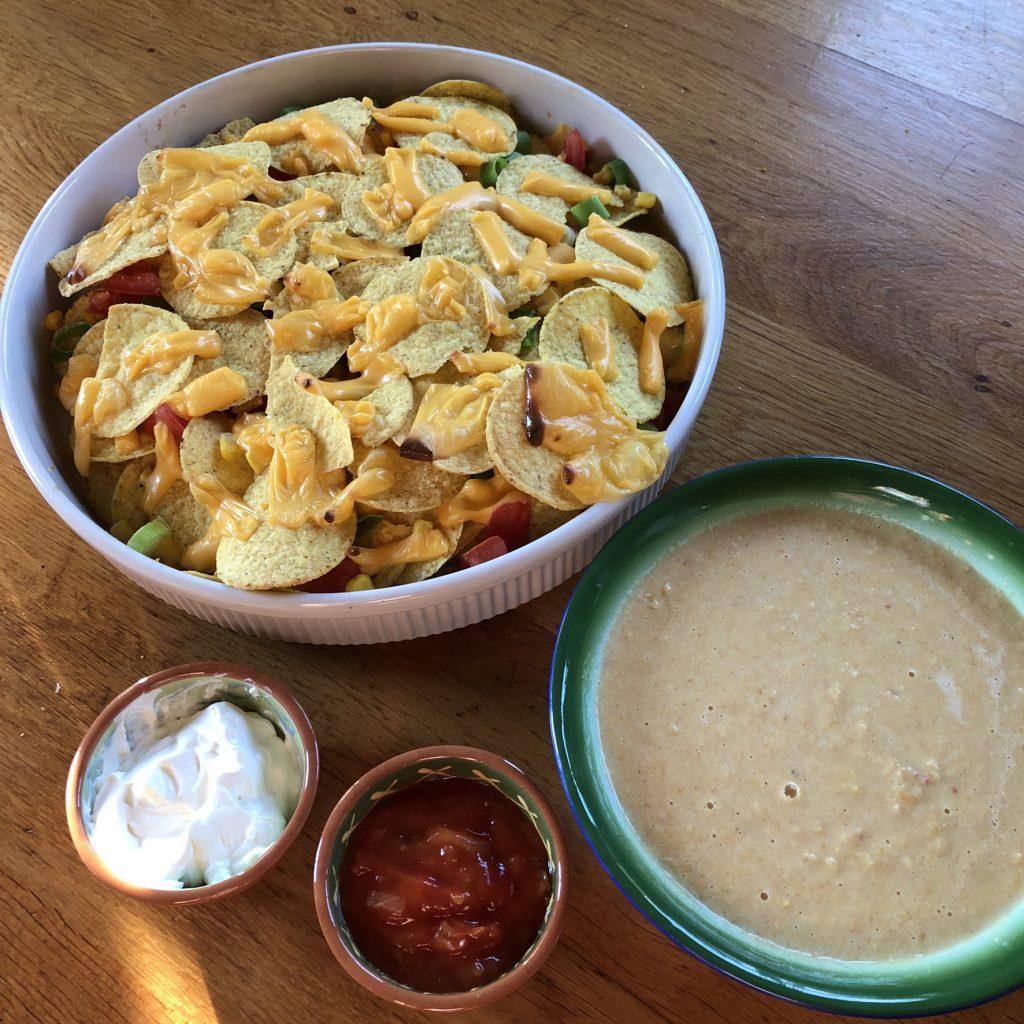Mexicaanse maissoep met nacho's