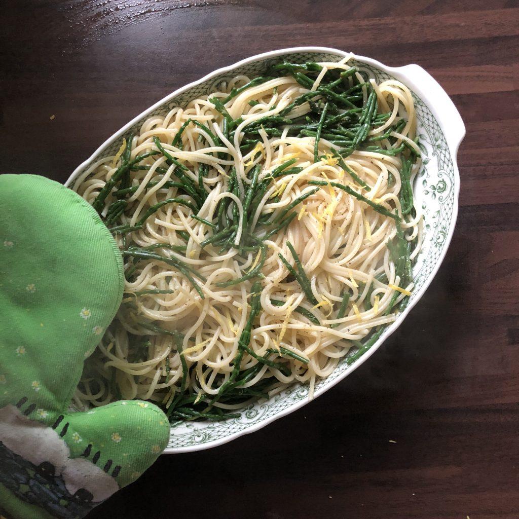 Zeekraal met spaghetti en citroen