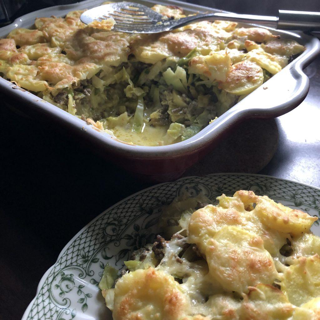 Spitskool met aardappelen ovenschotel