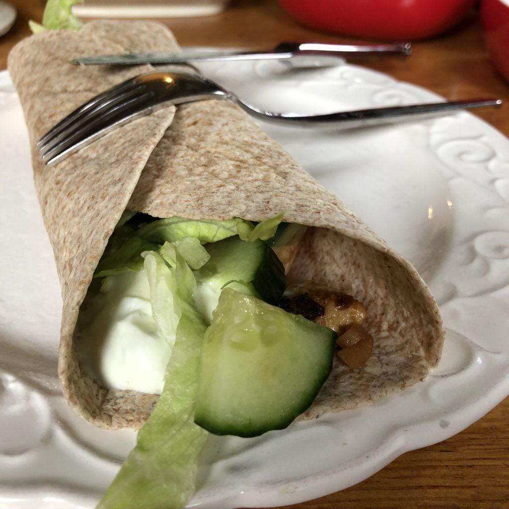 Wraps met tzatziki kip en groente